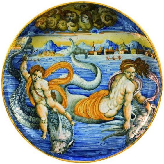 Urbino. Venus and Cupid on dolphins