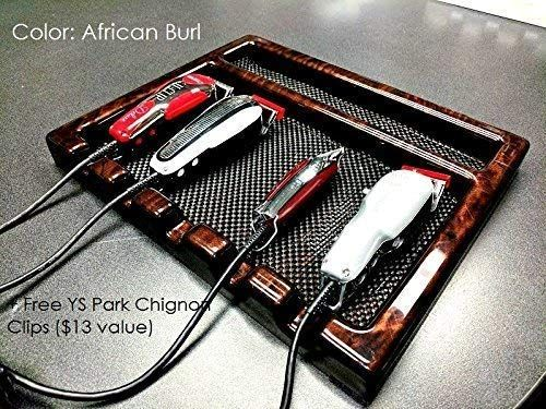 Salon Barber Clipper Table Top Tray W 5 Notches In African Burl Free Ys Park Chignon Clips 13 Value Barber Shop Decor Barber Clippers Barber Accessories