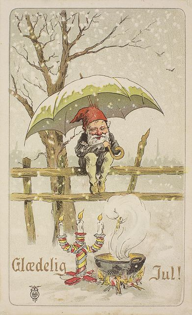 1901 winter gnome with Merry Christmas in Norwegian.
