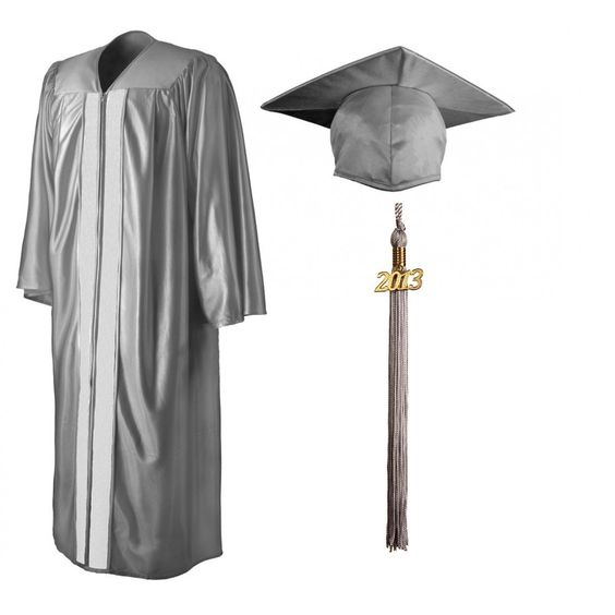 Shiny Silver Cap, Gown & Tassel   GraduationSource Products ...