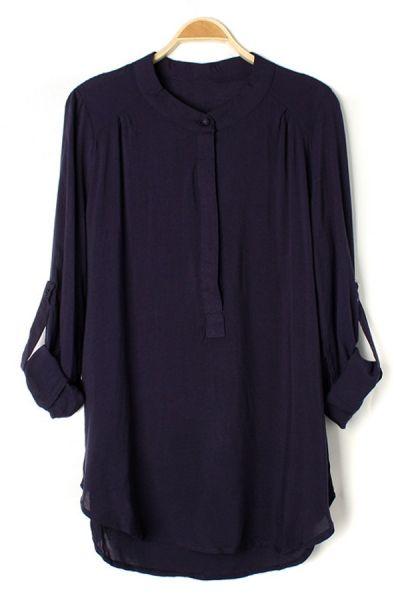 Partial Placket Long Sleeve Shirt OASAP.com