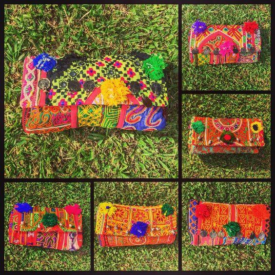 CLUTCH MANIA  #baiga #clutch #bags #fashion #colores #bordados #hindu #indian #sobre #cute #nice #moda #design  BELLA CLUTCH  VOS CON CUAL TE QUEDAS?