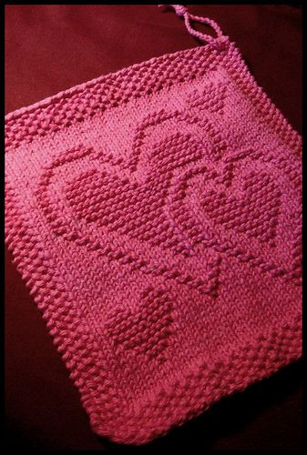 Knitted Socks Patterns Free : ~ Heart Knitted Dishcloth ~ hand work Pinterest Knitted Dishcloths, Dis...
