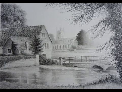 How To Draw Landscapes Old Barn Buildings Skies Using Graphite Pencil Techniques Youtube Landscape Drawings Charcoal Drawing Tree Drawings Pencil
