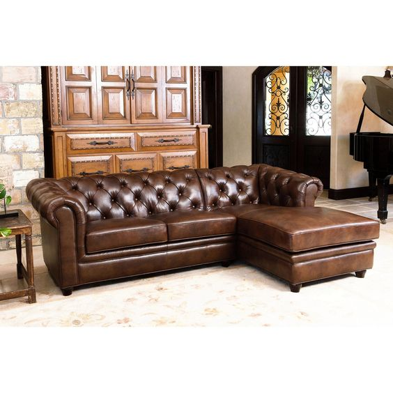 Abbyson Living Tuscan Top Grain Leather Chaise Sectional | from hayneedle.com