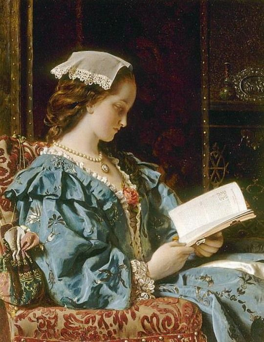 Francis John Wyburd  - Portrait of a woman reading, date? - Britain