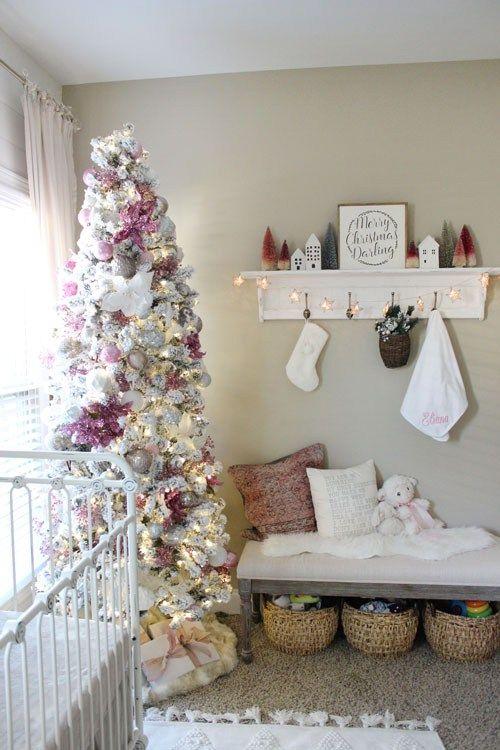 Baby Girl Christmas Nursery The Hamby Home Baby Girl Christmas Christmas Decorations Christmas Girl