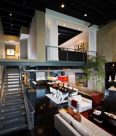 interior design orange county - Industrial Loft Design #red #white #black Designed by Orange ...