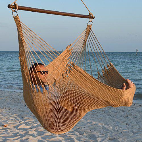 55 inch Soft-Spun Polyester Jumbo Caribbean Hammock Chair with Footrest Tan