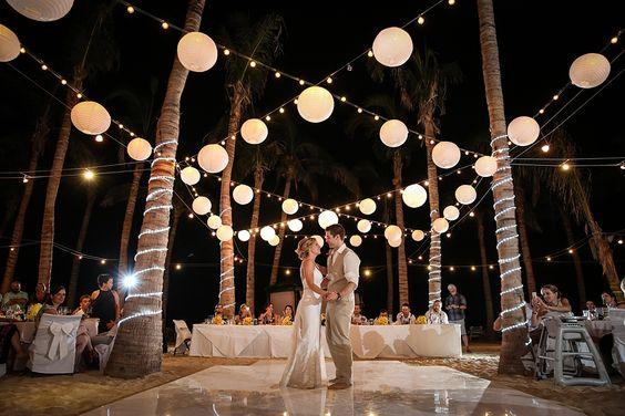Riu Palace Cabo San Lucas Destination Wedding. Wedding Reception dance floor lighting.: