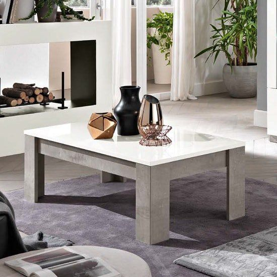 Breta Coffee Table In White High Gloss And Grey Marble Effect Marble Effect Table Coffee Table With Storage
