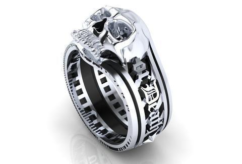 Men S Skull Ring Patriot Design Temple Of The Ancient Dragon Skull Wedding Ring Gothic Engagement Ring Mens Skull Rings