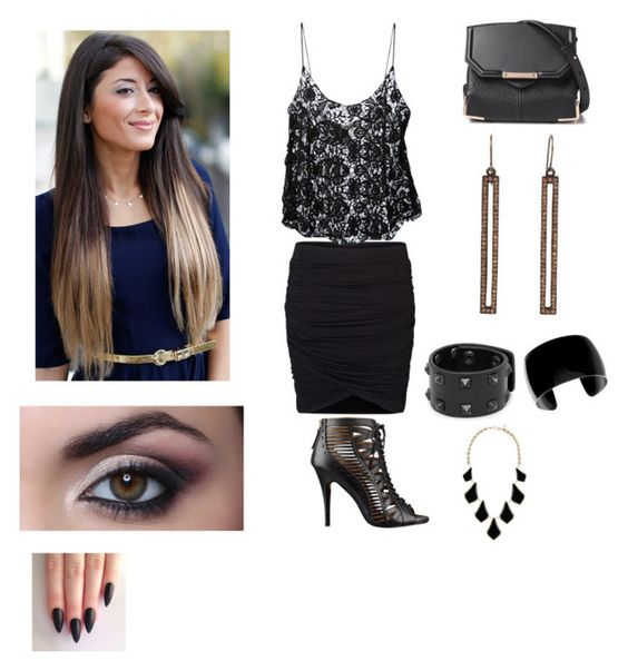 """""""Monday work outfit!"""" by hedanicole ❤ liked on Polyvore featuring Vero Moda, Sam&Lavi, Nine West, Alexander Wang, Kendra Scott, MANGO and Rebel Designs"""