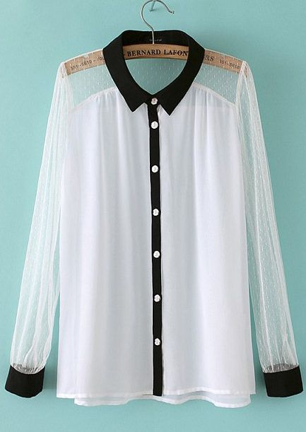 White Chiffon Blouse with Black Trim. | My Style | Pinterest ...