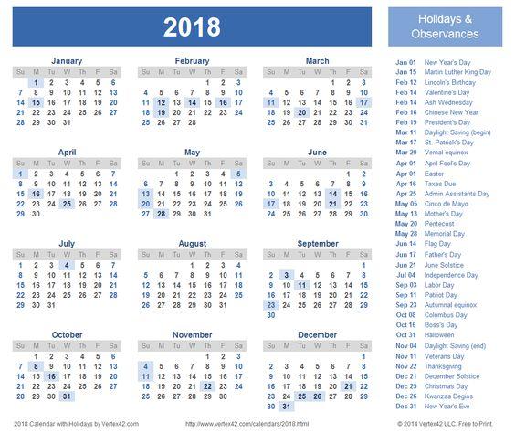 2018 Calendar | Printable Calendar | Pinterest | Calendar, Calendar ...