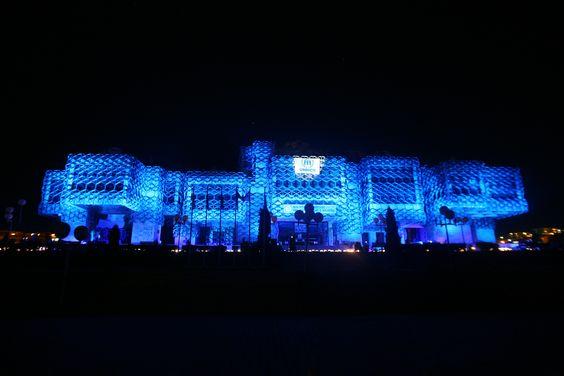 In #Kossovo, the National library was illuminated in blue./ UNHCR/ B. Berisha/ June 2012