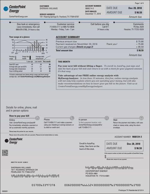 Energy Bill Centerpoint Energy Bill Template Gas Bill Energy Bill