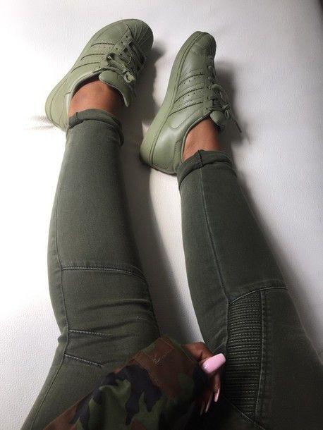 adidas superstar vert kaki femme