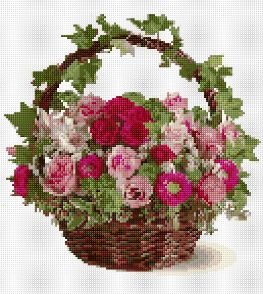 Cross Stitch | Basket with Flowers xstitch Chart | Design: