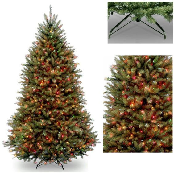 Artificial Christmas Tree Pre Lit Colored Light 750 Realistic Look FIR 7.5 Stand…