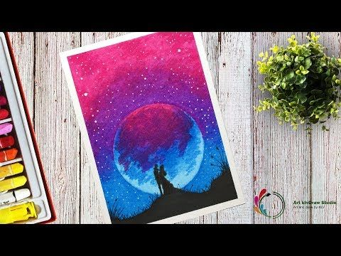 How To Draw A Sweet Couple At Beautiful Purple Moonlight Scenery