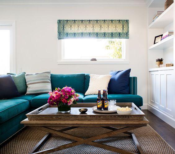 Teal Velvet Sofa, Natural Fiber Rug, White Backdrop