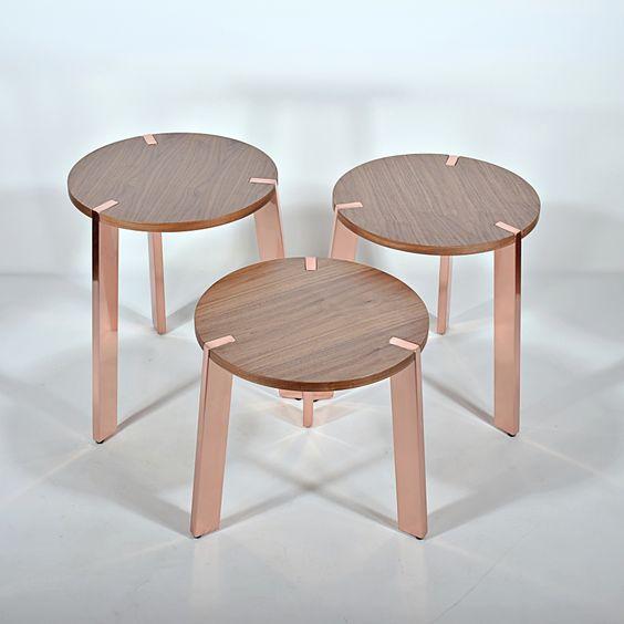 Nuans Design Notch Tables  (Wood top & Brass Legs)