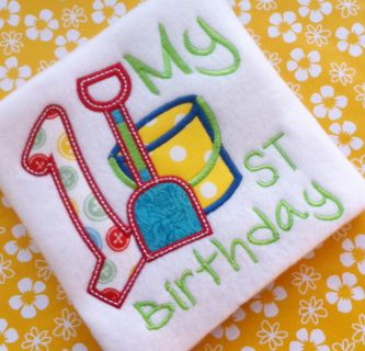 1st Beach Birthday Machine Embroidery Design Digital Applique Instant Download