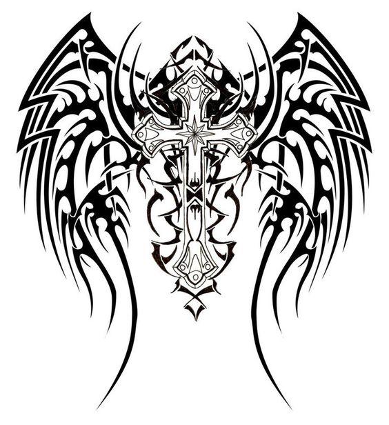 Cool cross tattoo: Tribal Wing Tattoo, Infinity Tattoo, Tribal Cross Tattoo, Tattoo Design, Dragon Tattoo, Tribal Tattoo