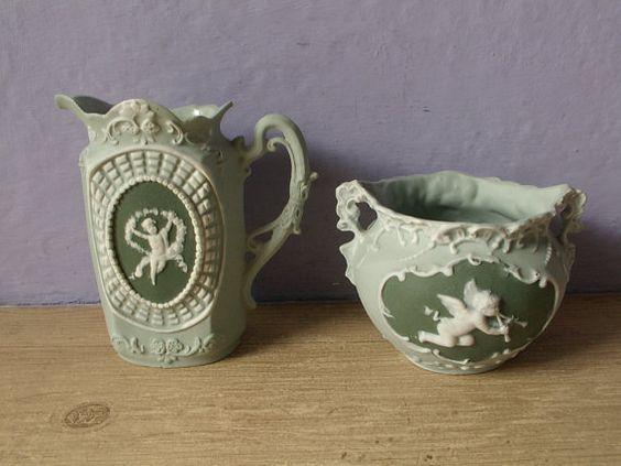 antique sugar bowl and creamer set German by ShoponSherman on Etsy, $89.00