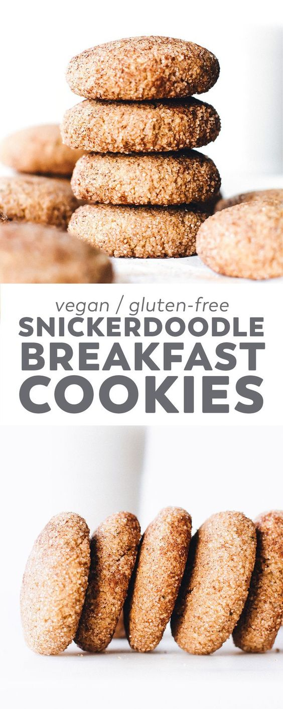 Holiday cookie meets healthier ingredients in these soft-baked sugar-coated Snickerdoodle Breakfast Cookies. Vegan, gluten-free, and easy to make! #vegan #christmas #cookies #glutenfree #oilfree #baking #easyrecipe #healthyrecipes via @feastingonfruit