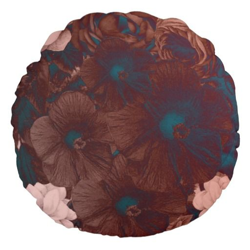 Psychedelic Floral Collage Round #Pillow #homedecor #pillows #zazzle #teenseyecandy