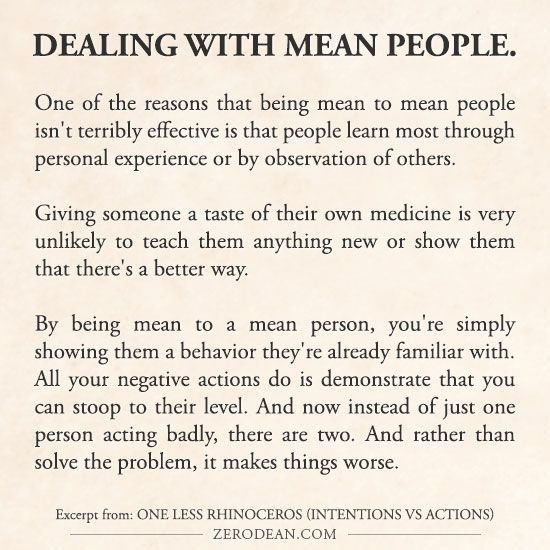 Excerpt from: One less rhinoceros (intentions vs actions & dealing with mean people) #zerosophy