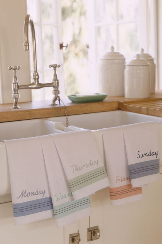 "Instead of using paper towels, invest in flour-sack tea towels. ""They're 100 percent cotton so you can dry glasses lint-free, wipe down the stove, or let dishes drip-dry on them,"" says Becky Rapinchuk, blogger at Cleanmama.net and author of The Organically Clean Home. ""They launder well and dry fast."" Grandma-approved bonus: They come in pretty patterns, colors, and embroidered motifs to add vintage charm to your kitchen."