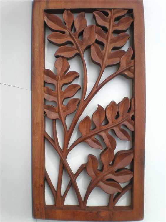 Details about bali leaf wood carved wall art hanging