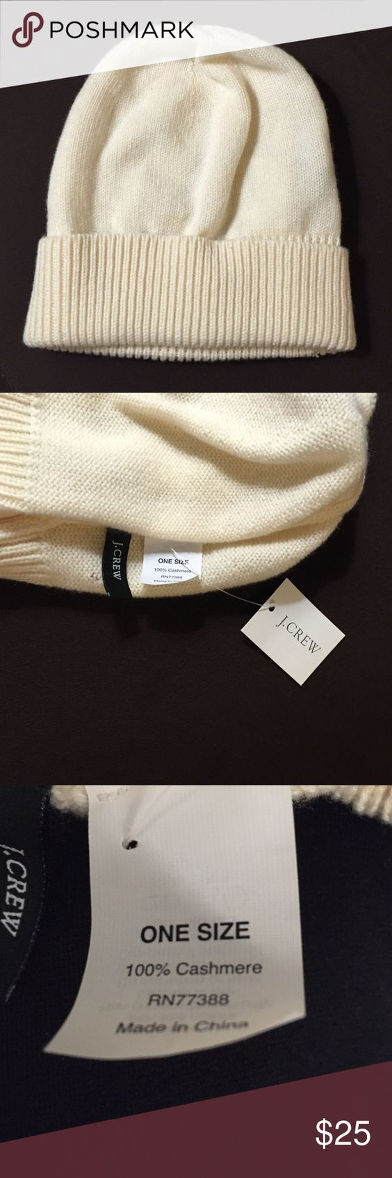 J. Crew Cream 100% Cashmere Hat New with tags. J. Crew cream 100% cashmere hat. One size fits all. J. Crew Accessories Hats