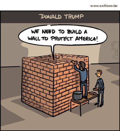 Thema van de cartoon op deze pagina: Donald Trump wil Amerika afsluiten en een muur bouwen , klik op de cartoon om naar de volgende te gaan