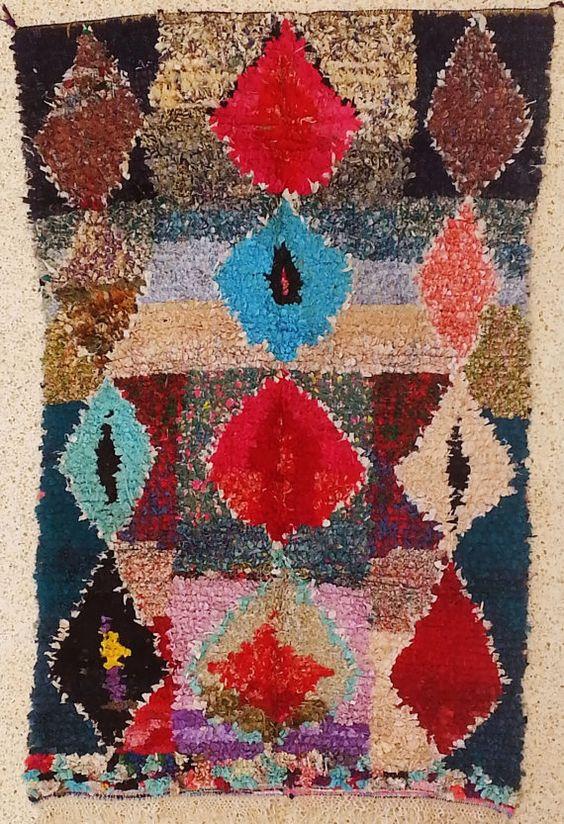 TC15119 Vintage Boucherouite Teppich, Wandkunst