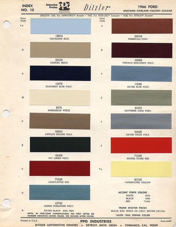 1966 Mustang Colors