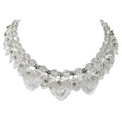 1990s Layered Crystal Heart Necklace w/Rhinestones
