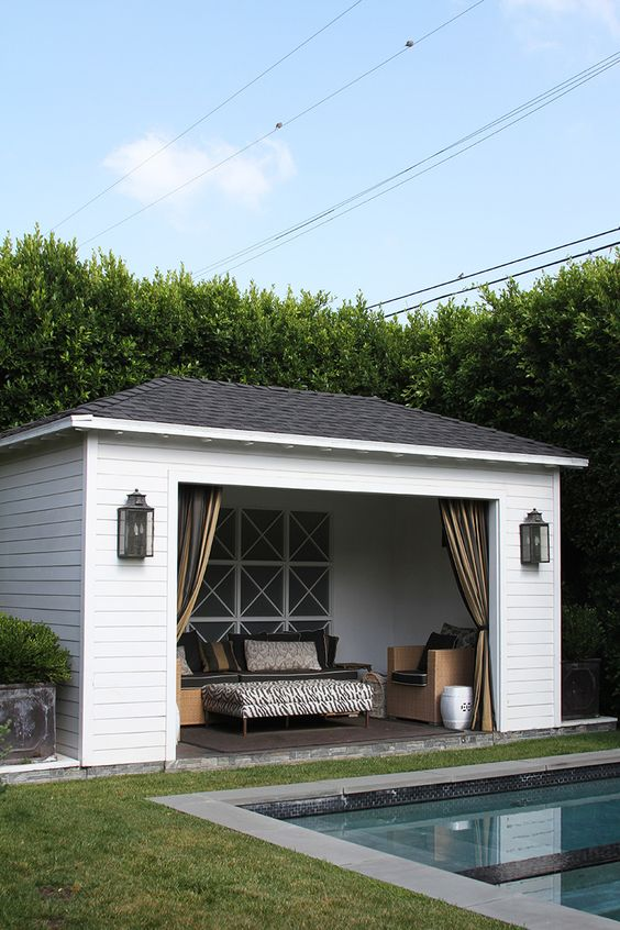 Pools cabanas and garage on pinterest for Garage pool house