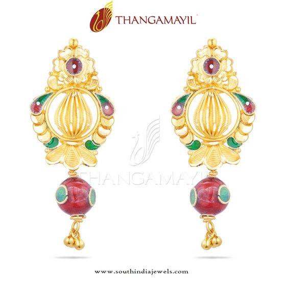 22K Gold Enamel Earrings, Gold Earrings with Enamel Work, Gold Ear Drops with Enamel Work.