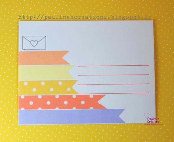 Une enveloppe coordonnée au challenge couleur #1... (Recto)  Copyright Pauline h. Créations
