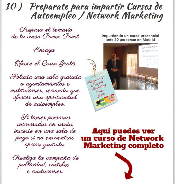 10 Infografia Network Marketing   10 ideas Organiza cursos de autoempleo y network marketing