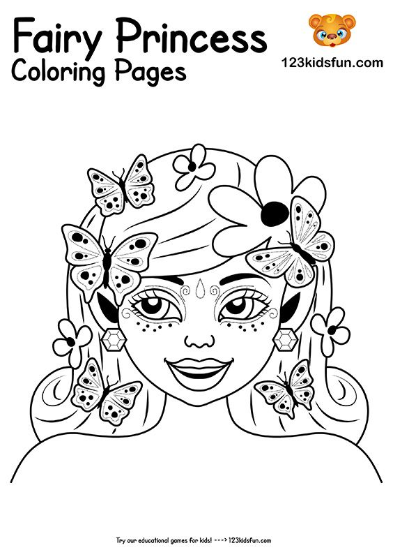 Free Printable Fairy Princess Coloring Pages For Girls 123 Kids Fun Apps Princess Coloring Pages Coloring Pages For Girls Princess Coloring