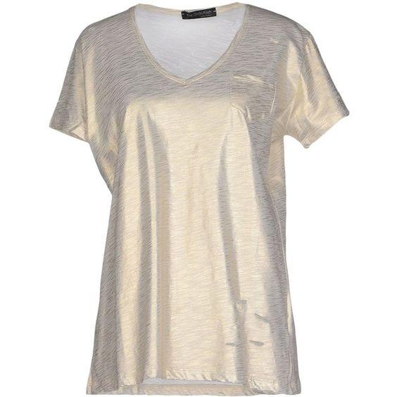 Ishikawa T-shirt ($58) ❤ liked on Polyvore featuring tops, t-shirts, platinum, pink t shirt, pink top, pink v neck t shirt, v neck t shirts and vneck t shirts