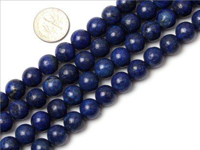 10mm Round smooth surface lapis lazuli gemstone beads strand 15″ | Your #1 Source for Jewelry and Accessories