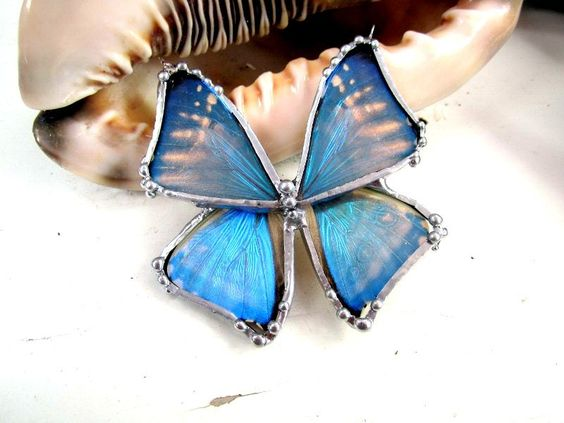 Real Butterfly Jewelry, Blue Morpho Butterfly Necklace on Sterling Silver. $110.00, via Etsy.