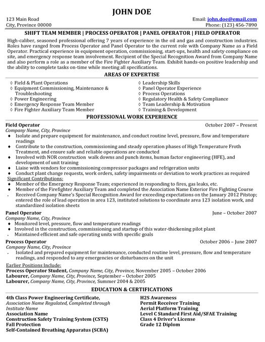 Click here to download this Process \ Field Operator Resume Sample - field operator sample resume