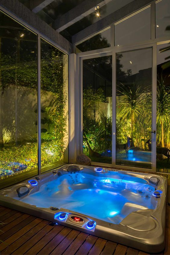 25 Stunning Inground Hot Tub Ideas For Your Relaxing Space Decortrendy Indoor Hot Tub Hot Tub Outdoor Hot Tub Landscaping